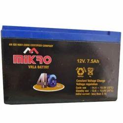 Mikro Solar UPS Battery, Capacity: 7.5 Ah, Voltage: 12 V