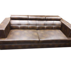Rectangular Three Seater Leather Sofa for Home