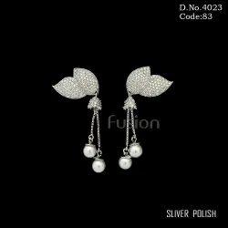 Cubic Zirconia Pearl Chandelier Earrings