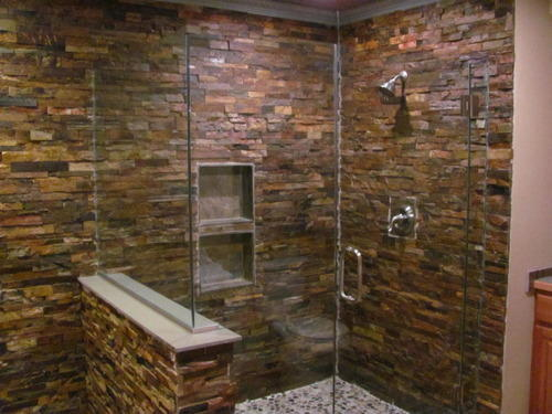 Bathroom Interior Natural Stone Tile, Thickness: 10 15 Mm