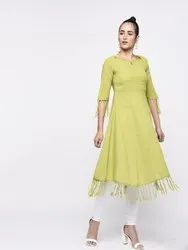 Yash Gallery Women's Cotton Slub Fringes A-Line Kurta
