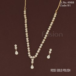 Rose Gold Polish AD Designer Necklace Set