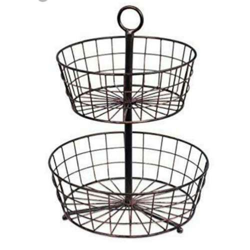 Iron White 2-Tier Floor Stand Basket, Costumize