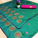 Three Flower Sana Silk Saree With Embroidered Blouse