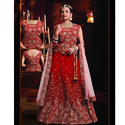 Satin Sleeveless Red Bridal Lehenga