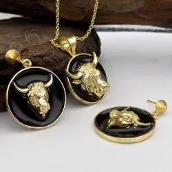 Gold Plated Animal Designed Necklace With Earring