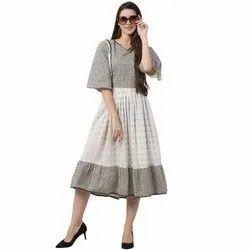 Ladies Cotton Printed Baby Doll Dress