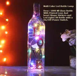 Custom LED Glass Bottle Lamp, For Gift, Shape: Round