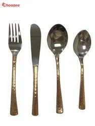 2 Tone Copper SS Cutlery Set of 24 Pcs in Velvet Set
