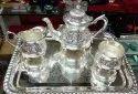 Silvar Pletad Tea Set