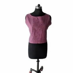 Sleeves Attached Inside Cotton Silk Ladies Cotton Sleeveless Top