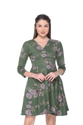 Women's Floral Suede Dress