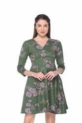 Green ARMURE Women's Floral Suede Dress, Women/girls