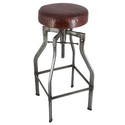 Steel Vintage Industrial Bar Stool, Shape: Round