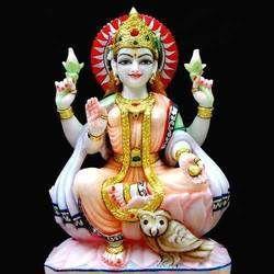 Maa Laxmi Sitting Marble Statue