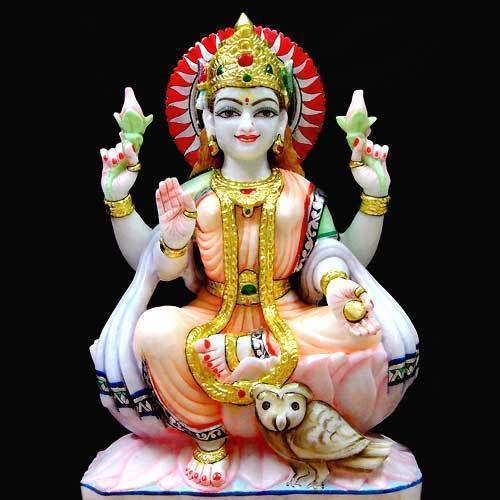 Hindu Maa Laxmi Sitting Marble Statue For Worship Id 3876905430