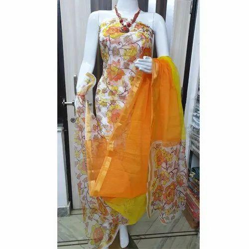 Ladies Kota Doria Screen Print Dress Material