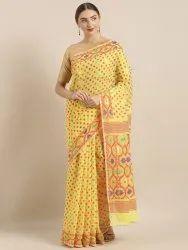 Yellow Silk Cotton Woven Design Jamdani Saree