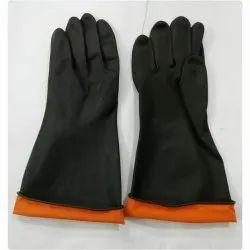 Industrial Orange Rubber Hand Gloves