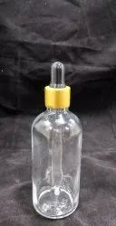 Round 100 ML Clear Glass Bottle with Aluminum Dropper Set