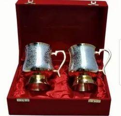 Silver-Brass Plated Mug Set
