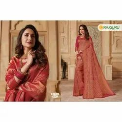 Party Wear Printed Rosy 407 Rajguru Ladies Sarees, With blouse piece