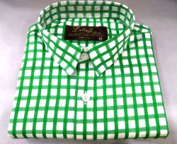 White And Green Checks Mens Collar Neck Check Shirt, Packaging Type: Packet