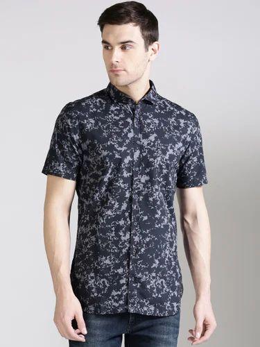 de637e835b0 Cotton Black Printed Half Sleeve Shirts For Men
