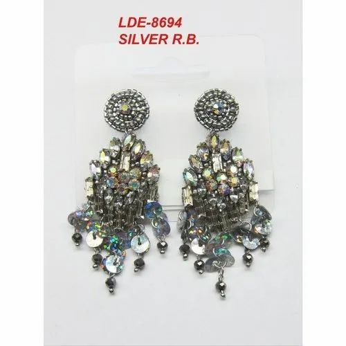 Beads Silver LDE-8694 Handmade Design Earrings, Size: 3 - 4 Inches