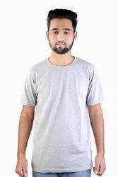 Half sleeve Round Neck Grey Plain T-Shirt