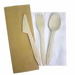 wooden spoon fork knife paper wrapped