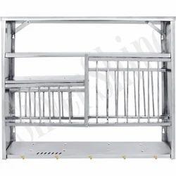 Silver Shine Bluestar Stainless Steel Kitchen Plate Rack, Size: 24 x 30 x 10 Inch