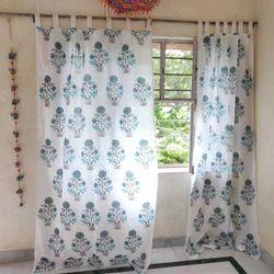 Indian Hand Block Print Design Window Cotton Curtain
