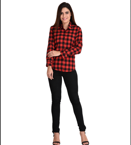 cdc0f86b5 Cation Women's Checkered Casual Red, Black Shirt
