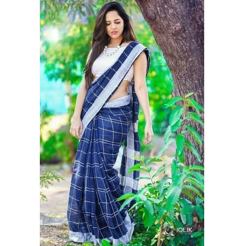 fresh styles provide large selection of best value Linen Checks Saree