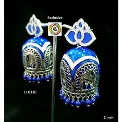 CL code Designer Amrapali Blue White Oxidised Meenakari Jhumki Neelkamal collection dangler Earrings