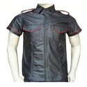 Mens Half Sleeve Leather Shirt