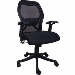 Calvo Mesh Medium Back Black Chair (VJ-0104)