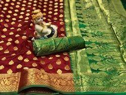 Somnath Creation Wedding Wear Designer Banarasi Silk Saree, 5.6 m