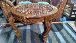 Natural Polish Ace Wood Crafts Wooden Center Table / Coffee Table(Round Shape)