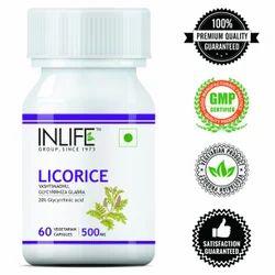INLIFE Capsules Licorice Yastimadhu Glycyrrhiza Glabra 500 mg, Grade Standard: Food Grade