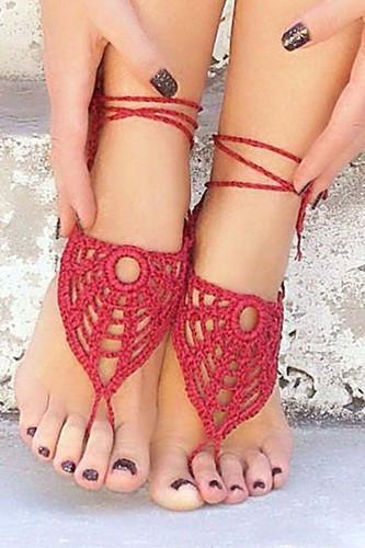 e713faeb5 Cobweb Pattern Crochet Barefoot Sandals - Red at Rs 650  pair ...