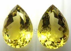 Lemon Quartz Faceted Pear Pair Gemstone