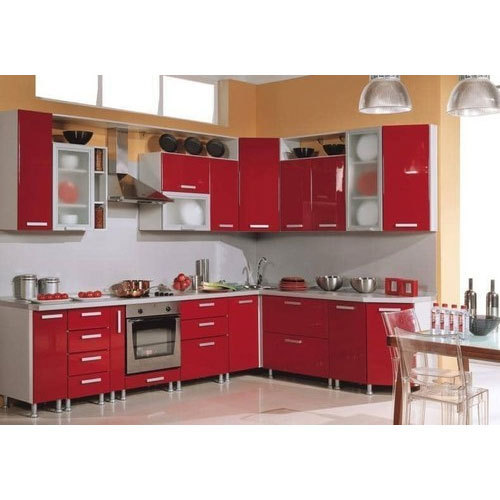 Modern Red And White Modular Kitchen Cabinet Rs 1450 Square Feet Mahaganapathi Wood Works Id 19833494097