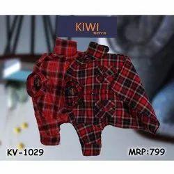 Casual Wear Cotton Kids Fancy Check Shirt, 4-16 Year
