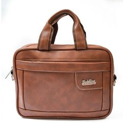 Brown 12 Inch Leatherette Office Bag