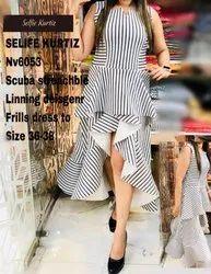 NV 60536 Scuba Stretchable Lining Designer Frill Dress
