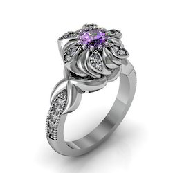 Floral Amethyst Silver Ring