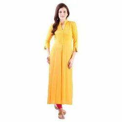 Ladies 3/4th Sleeve Yellow Casual Wear Kurti