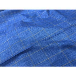 Checked Blue Gwalior Suiting Fabric